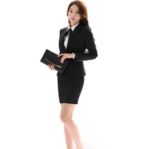 Al por mayor-Office Uniform Designs Women Skirt Suit 2017 Disfraces para Mujeres Trajes de negocios Faldas con Blazer Negro Gris Plus tamaño 4XL 5XL