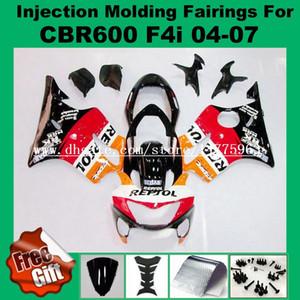 Kit de carenado por inyección para HONDA CBR600F4i 04 05 06 07 CBR 600 F4i CBR600RR F4i 2004 2005 2006 2007 Kit de carenado parabrisas naranja rojo negro