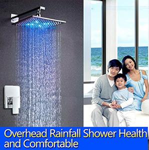 """물에 의해 강화 된 10 """"LED 샤워 헤드가있는 LED 샤워 세트 고급 Rainfall Saving Water Chrome Mixer with Concealed Box"""