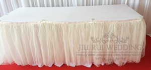Libero 6ft misura trasporto Organza chiffon del filato della neve Tabella Gonna Tabella Zoccolino per Wedding Banquet Decoration