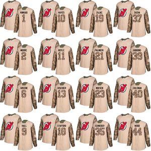 Nueva Jersey Devils Jersey Veterans Day Practice 6 Andy Greene 9 Taylor Hall 13 Nico Hischier 35 Cory Schneider 44 Miles Wood Hockey Jerseys