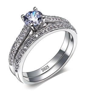 ZHF Jóias Big Sale YINHED Marca Anel de Casamento Set Sólido 925 Sterling Silver 1CT Zircon CZ Anéis de Noivado para As Mulheres Jóias Vintage