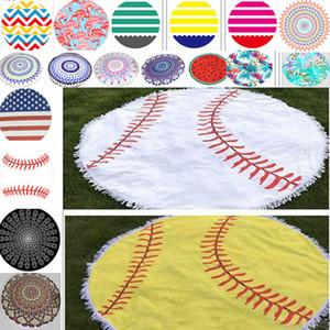 50cm * 150cm rotonda Baseball Beach Telo Poliestere Softball Yoga Mat Scialle Bagni Arazzi asciugamani possono fornire FBA nave HH7-868