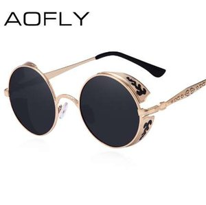 AOFLY стимпанк старинные солнцезащитные очки Мода круглые солнцезащитные очки женщины Марка дизайнер резьба по металлу солнцезащитные очки мужчины oculos de sol S1635