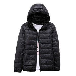 Ultra Light Duck Down Jacket Women Plus Size Autumn and Winter Hooded Slim Light Down Short Jacket Winter Thin Coat EV215