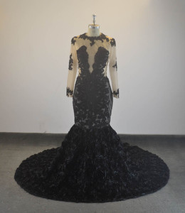 Luxury Black Mermaid Evening Dresses High Neck Beaded Long Sleeves Floor Length Prom Dresses Lace Appliques African Party Wear Gowns