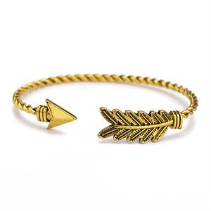 Arrow Bracelets de manchette en plumes Unisexe Or Argent Alliage Noir Bracelets Bracelet manchette réglable Bracelet Bijoux de mode