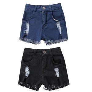 Verão Recém-nascidos Meninos Da Menina Buracos Rasgado Denim Jeans Shorts Crianças Criança Estiramento de Cintura Alta Shorts Hot Calças Curtas Calças Sunsuit
