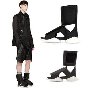 Quinto lujo 18SS hecho a mano personalizado Gladiador con punta abierta con cremallera y top sandalias de tela pasarela moda exclusivo para hombre sandalias