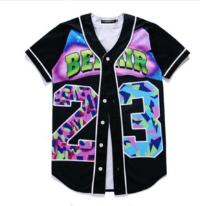 Yeni Moda 3D T Gömlek Yaz Tarzı Hip Hop Erkekler T Gömlek Hip Hop Bel Hava 23-Taze Prens Unisex Beyzbol Üniforma Çift Gömlek BQF05