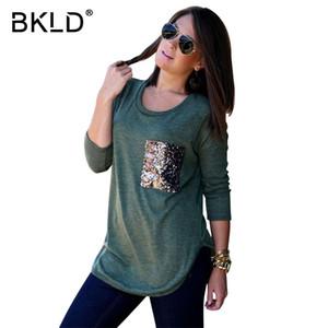 Bkld mulheres de bolso de lantejoulas patchwork o pescoço de manga longa de algodão t-shirt 2018 moda primavera causal solto senhoras tees tops venda quente