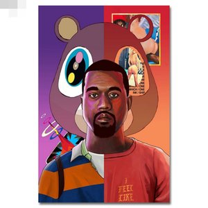 Impresión de la lona Decoración Del Hogar Pintura Mural Kanye West Grammy Rap HIPHOP Super Star Singer Art Hd Tela de Seda Poster