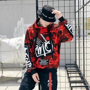 Moda Kamuflaj Yama Hoodies Mens Autmn Tasarımlar Camo Baskılı Kollu Kazak Tişörtü Erkek Hip Hop Gevşek Streetwear