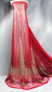 Tecidos rendas nigeriano para o vestido 5 metros tecido de renda francesa africano de alta qualidade 2018 tecido de renda africano tecido de tule YJ-A14