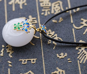 Natural Xinjiang white jade safety buckle pendant New cloisonne inlaid water drop pendant A cargo Kunlun white jade