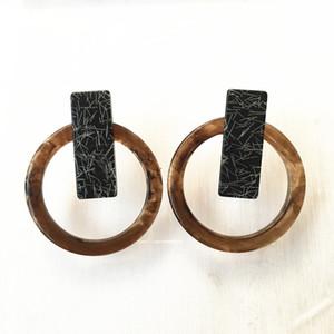 UJBOX schwere übertriebene japanische koreanische Harz Ohrringe Frauen geometrische Kreis Drop baumeln Ohrringe Ins heißer Verkauf Großhandel