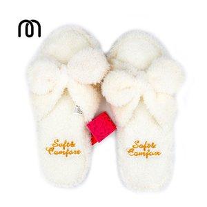 Millffy moelleux pantoufles d'intérieur pantoufles en peluche femme mignonne tongs kawaii pantoufles chaussures étage pantoufles blanches