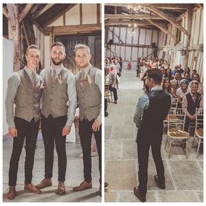 Custom Groom Casual Vest in lana a spina di pesce Grooms Vests British Style Suit uomo in gilet Slim Fit Groomsmen Dress uomo Vest 2018