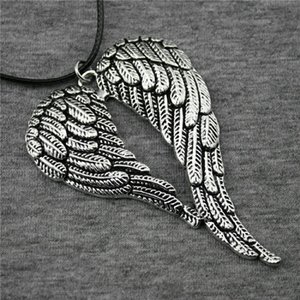 Male Pendants Pieces Leather Choker Chain N6-B12303 Big Collar WYSIWYG Necklace Fashion Necklaces 5 Double 68x46mm Wings Xbmwg