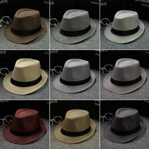 Erkek Kadın Yumuşak Fedora Panama Şapka Pamuk / Keten Hasır Kapaklar Açık Cimri Ağız Şapka Bahar Yaz Plaj güneş caps 56-58 cm 28 Renkler