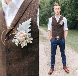 2019 Britischen Stil Kerbe Revers Herringbone Tweed Beige Westen Slim Fit Westen Hochzeit Smoking Nach Maß Für Besten Mann