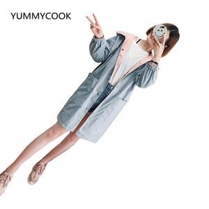 YUMMYCOOK Printemps et automne nouvelle coréenne à manches longues à manches longues à capuche dames veste longue lâche confortable coupe-vent femmes F189