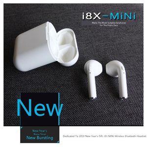 2018 i8X-MINI Kablosuz Bluetooth Kulakiçi Kulaklıklar ile Şarj Kutusu ile Apple Iphone X 8 7 Artı Android Samsung Sony Araba Kulaklık DHL