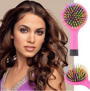 Magic Massage Kammbürste Rainbow Volume Styling Tools Anti-Tangle Anti-Static Detangling Hair Haarbürste mit Spiegel