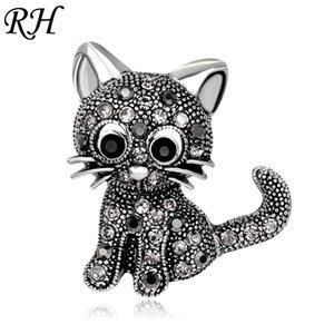 Vintage Metal Crystal Cute Cat Broche Para Las Mujeres Rhinestone Collar Pins Corsage Pet Animal Broche Insignias Accesorios de Joyería