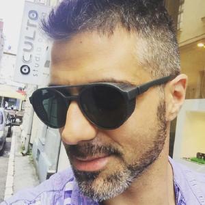 Солнцезащитные очки мужчины Марка дизайнер солнцезащитные очки европейские и американские звезды моды с новыми ретро круглые солнцезащитные очки