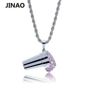 JINAO Hip Hop Ice Cream Ciondolo Micro Pavimenta la collana di zirconi cubici per gli uomini gioielli regalo del partito