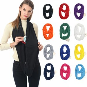 New Creative European and American explosive pocket scarf, pure color unlimited neck storage zipper pocket collar