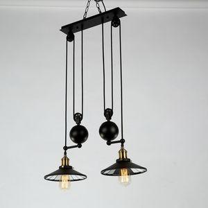 Geri çekilebilir E27 Loft Sanayi Rüzgar Pendant Lambalar PA0355 Asma salonu Süspansiyon İçin lambalar Ayarlanabilir 2 kafaları Lights