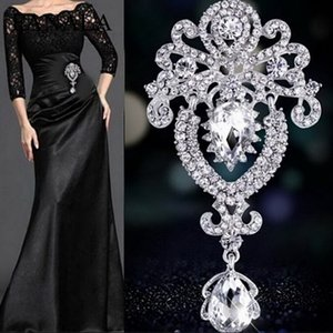 FANALA Broche Mulheres Pins Grande Resina Floral Strass Pingente De Noiva Broches Pin Charming Party Wedding Decor Broches