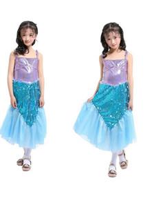 Paillettes per ragazze Mermaid Tail Long Mesh Yarn Sling Dress Princess Dress Halloween Child Performance Costumes Dress per Christmas Party Birthday
