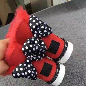 2019 Bambini SWEETIE BOW Snow Boots oddler Bowtie posteriore in pelle stivali moda appartamenti scarpe impermeabili casuali EU25-34