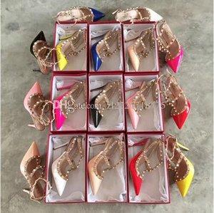 2018 donne del progettista di marca tacchi alti 9,5 cm rivetti di moda in pelle verniciata scarpe a punta sexy scarpe da sposa per feste sandali a doppia cinghia C20