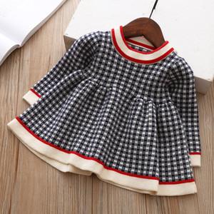 Девушка детская одежда платье весна осень девушка элегантное платье платье с длинным рукавом теплые вязаное платье