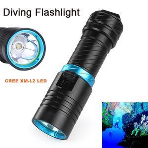 Unterwasser Taschenlampe CREE XM-L2 LED wasserdichte Taschenlampe Licht Scuba Alonefire DV30 100m Tauchen Taschenlampe + Akku + Ladegerät