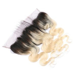 Tres partes Brazilian Body Wave Ombre Lace Frontal Closure 13x4 Nudos Blanqueados Two Tone # 1B / 613 Blonde Ombre Full Lace Frontals