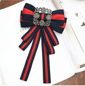 Big Bow Bowknot Diamant bestickte Broschen für Frauen Pin 2018 echte Broschen bestickte Rose Bowknot Broschen