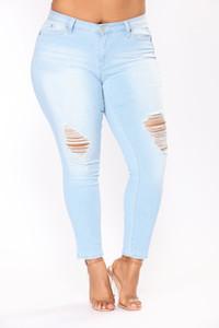 هول ممزق جينز المرأة سروال كول الدينيم خمر قلم رصاص جينز لفتاة منتصف الخصر السراويل النسائية سليم جينز زائد الحجم 2XL-7XL