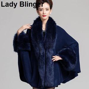 Chegada nova Lady Blinger gola de pele de raposa do falso cuffs decoração super longo mulheres wraps ponchos de pele xale de pele roubou faux chamere capa