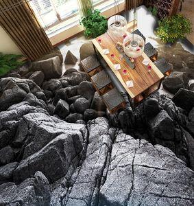 Papeles de pared decoración para el hogar 3d piso papel pintado autoadhesivo personalizado Papeles de piedra 3d suelo negro para sala de estar