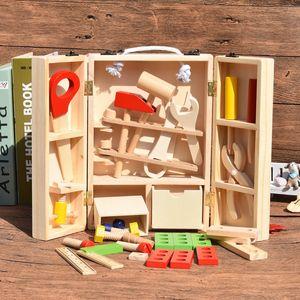 Ücretsiz kargo çocuk oyuncakları Toolbox Set Ahşap simülasyon Ağaç İşleme kutusu çocuk Bulmaca tornavida aracı Set
