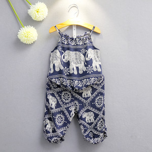 Tenue d'impression d'éléphant pour enfant fille Sling top + pants 2pcs / set 2018 summer suit suit Boutique enfants vêtements ensembles 2 couleurs C3892