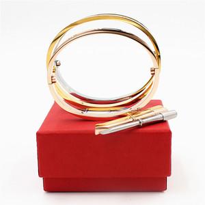 Wholesale Fifth Luxury Top Qualtiy Gold Carter BraceletsBangles Titanium Steel Love Wedding Pulsera con caja de destornilladores YX029