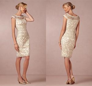 Elegante Champagne neue bloße Jewel Mantel Mütter Kleider Spit Ärmel knielangen Plus Size nach Maß Mutter der Braut Kleider