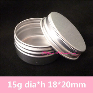 Free Shipping 100pcs lot 15g Lip gloss Aluminum Jar Screw Cap Aluminum Cosmetic Packaging Small Round Sample Jar