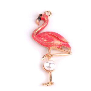 20 PCS, Flamingo esmaltado charme pingente, brinco charme, achados de jóias